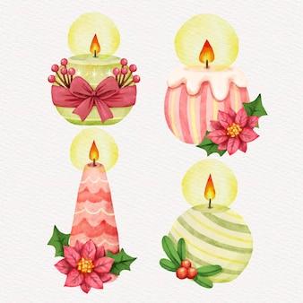 Collection de bougies de noël aquarelle