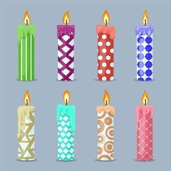 Collection de bougies de noël au design plat
