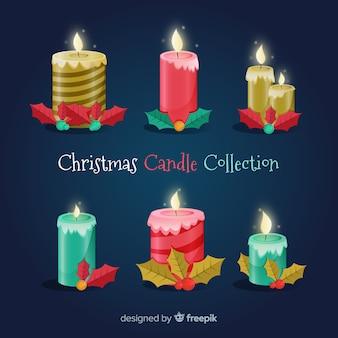 Collection de bougies de noël bougie réaliste