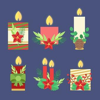 Collection de bougies de noël design plat