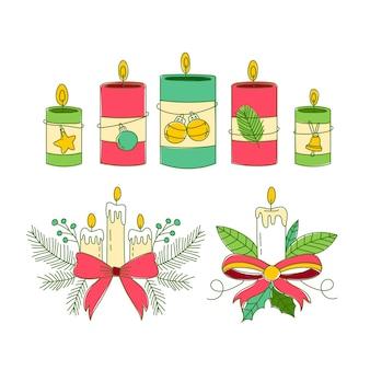 Collection de bougies de noël dessinée à la main