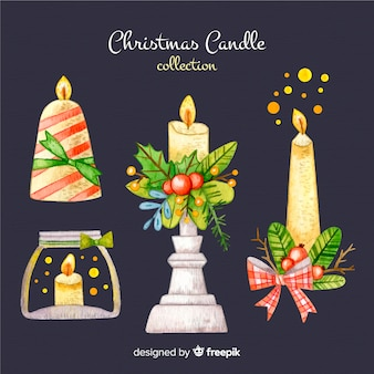 Collection de bougies de noël dessinées à la main