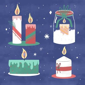 Collection de bougies de noël dessinées à la main