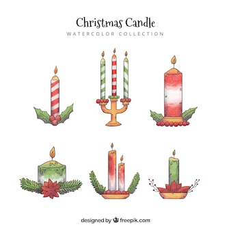 Collection de bougies de noël dessinés à la main