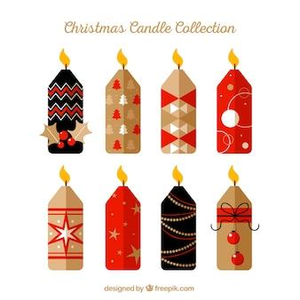 Collection de bougies de noël en noir, rouge et beige
