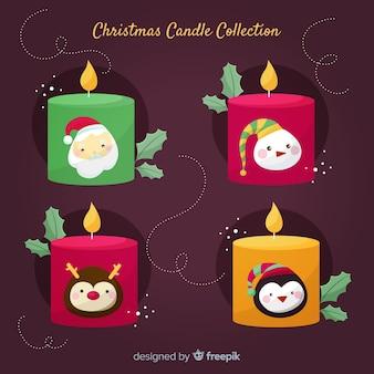 Collection de bougies de noël de personnages