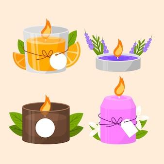 Collection de bougies parfumées design plat