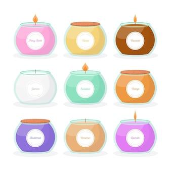 Collection de bougies parfumées plates