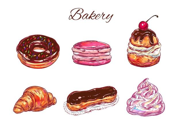 Collection de boulangerie et bonbons colorés