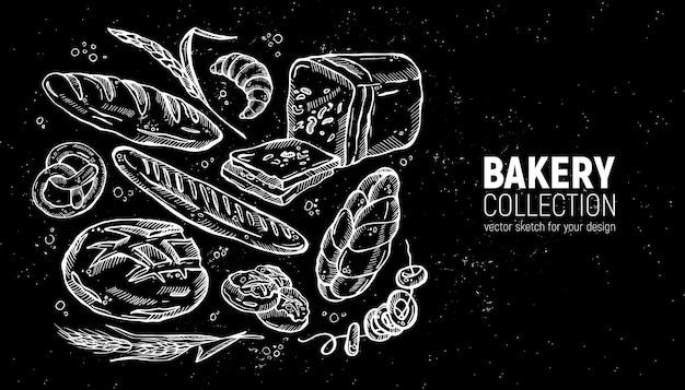 Collection de boulangerie de croquis dessinés à la main