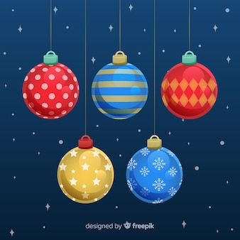 Collection de boule de noël colorée avec design plat