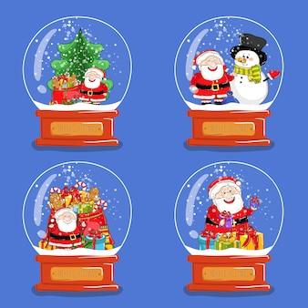 Collection de boules de neige en verre de noël