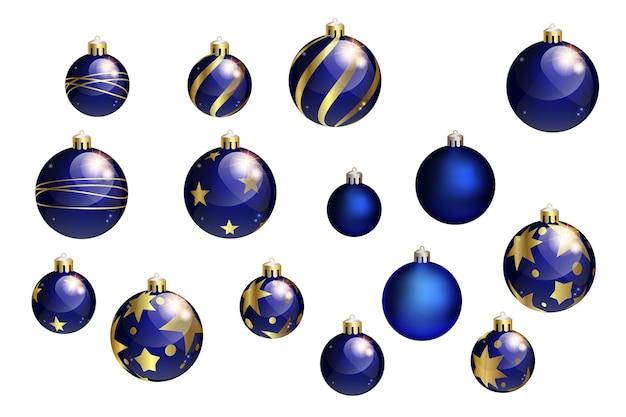 Collection de boules de noël bleues