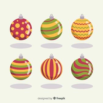 Collection de boules de noël design plat