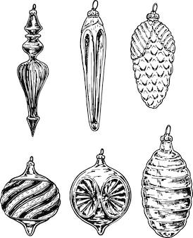 Collection de boules de noël dessinés à la main isolée sur fond blanc. croquis de boules de nouvel an.