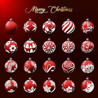 Collection de boules de noël avec des motifs différents