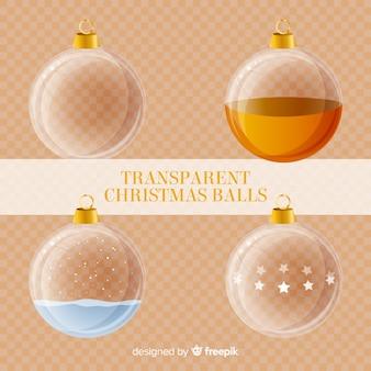 Collection de boules de noël transparente avec style élégant