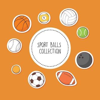 Collection de boules de sport