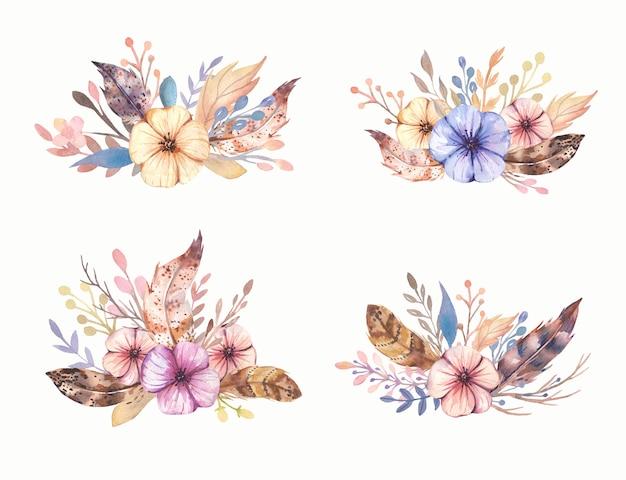 Collection de bouquet boho dessiné à la main aquarelle.