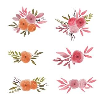 Collection de bouquet de fleurs aquarelle