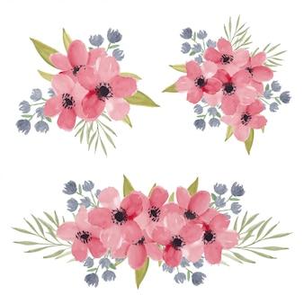 Collection de bouquet de fleurs de fleur de cerisier aquarelle