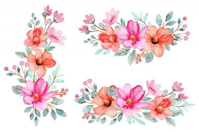 Collection de bouquet de fleurs rose aquarelle