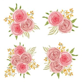 Collection de bouquet de fleurs rose rose aquarelle vintage