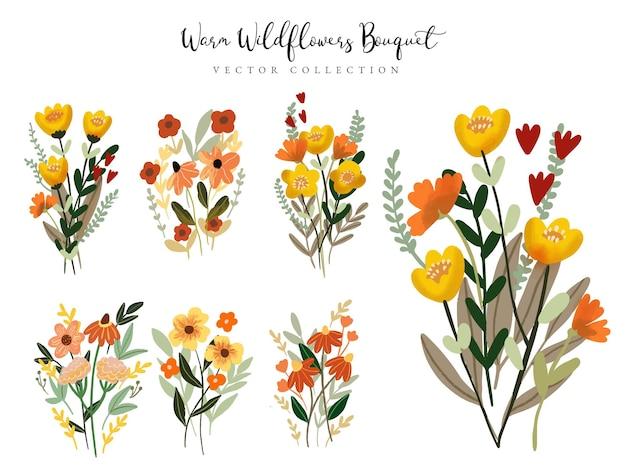Collection de bouquet de fleurs sauvages aquarelle chaud
