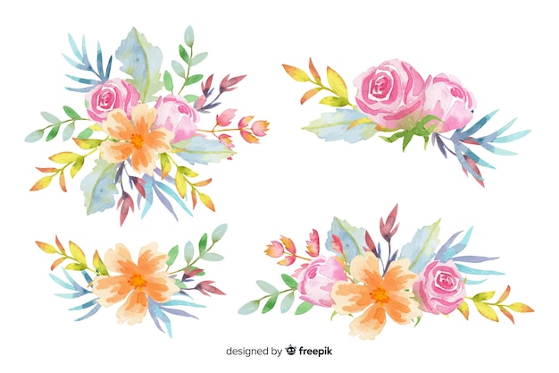Collection de bouquet floral aquarelle coloré