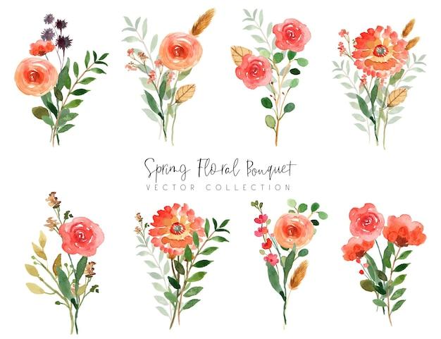 Collection de bouquet floral aquarelle de printemps