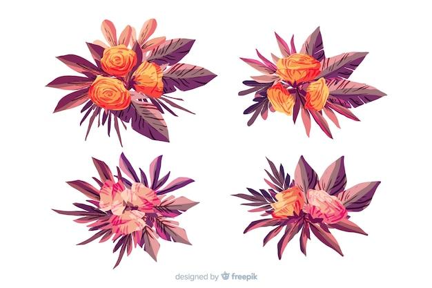 Collection de bouquet floral aquarelle