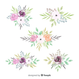 Collection de bouquet floral aquarelle