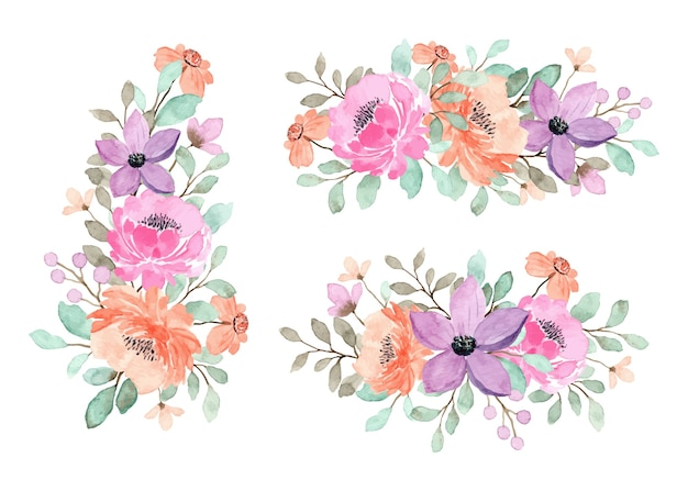 Collection de bouquet floral pêche, violet et rose