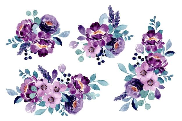 Collection de bouquet floral violet avec aquarelle