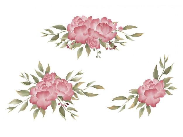Collection de bouquet de pivoines aquarelle