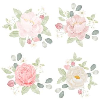 Collection de bouquet de rose rose aquarelle isolé sur fond blanc