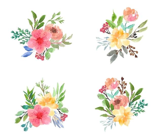 Collection de bouquets d'aquarelles florales colorées