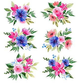 Collection de bouquets de fleurs aquarelle violet et rose