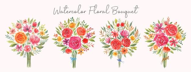 Collection de bouquets de fleurs de mariage aquarelle