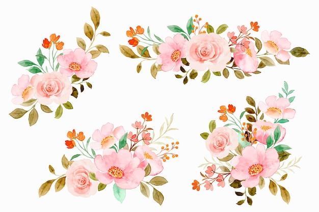Collection de bouquets de fleurs roses aquarelles