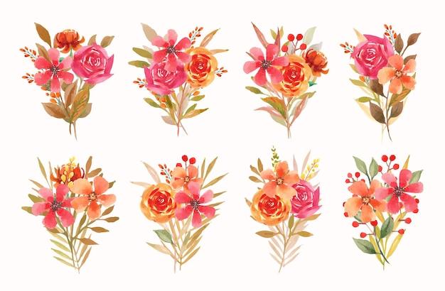 Collection de bouquets floraux automne aquarelle