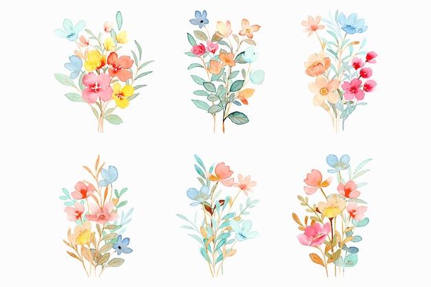 Collection de bouquets floraux colorés à l'aquarelle