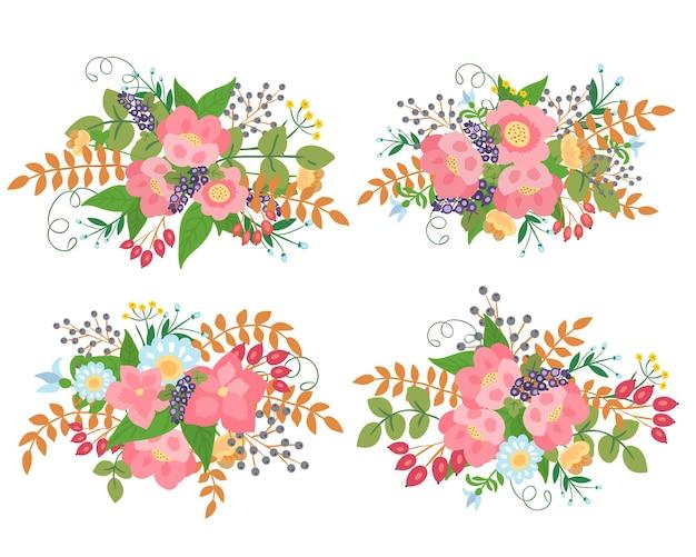 Collection de bouquets frais de fleurs roses et de baies.