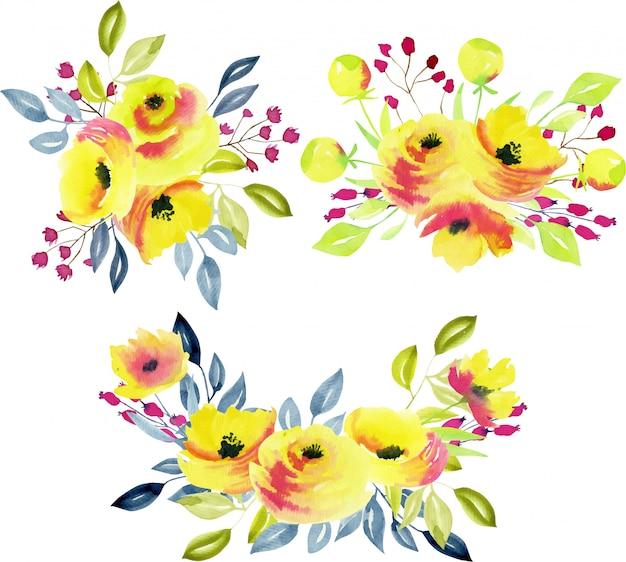 Collection de bouquets de roses jaunes, branches et feuilles