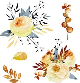 Collection de bouquets de thé aquarelle rose, feuilles bleues et eucalyptus