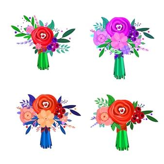 Collection de bouquets de vacances, avec un design et une couleur de fleurs différents, version été. objets isolés