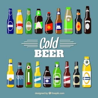 Collection de bouteilles de bière de cru