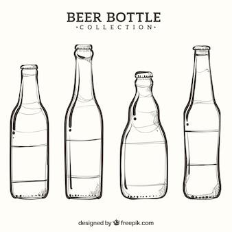 Collection de bouteilles de bière dessinés à la main