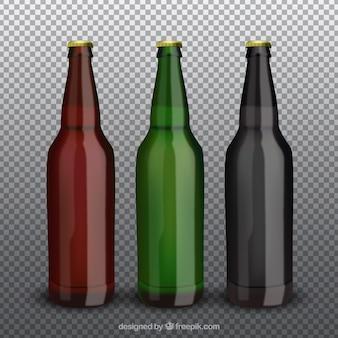 Collection de bouteilles de bière réaliste