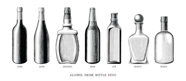 Collection de bouteilles de boisson alcoolisée dessiner à la main style vintage clipart noir et blanc isolé